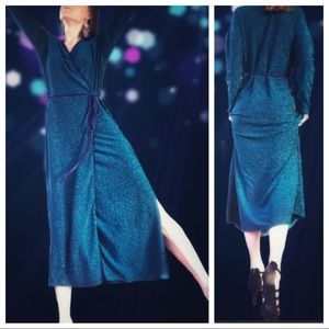 Zara Trafaluc Metallic Shimmer Party Wrap Dress